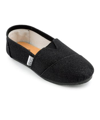 Black Glitter Slip-On Shoe
