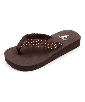 Brown Polka Dot Paris Flip-Flop