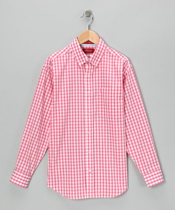 Rose Gingham Button-Up