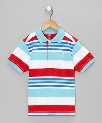 Icy Blue Stripe Polo - Boys