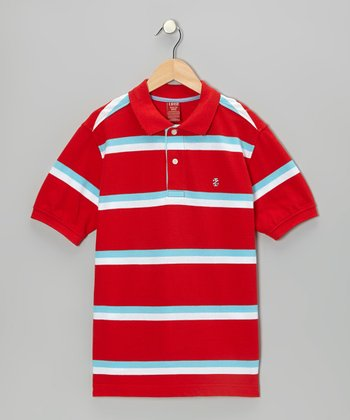 Tomato Stripe Polo - Boys