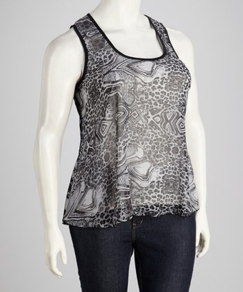 Gray Leopard Lace Back Hi-Low Tank - Plus