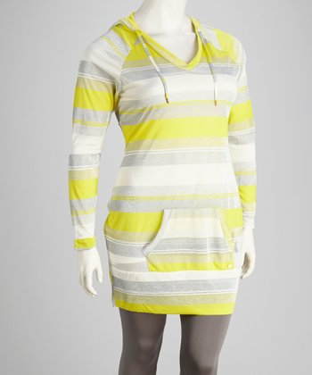 Yellow Stripe Plus-Size Hooded Tunic