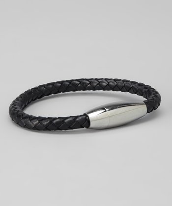 Silver & Black Braided Bracelet