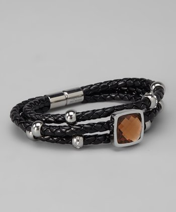 Black & Silver Gemstone Braided Bracelet