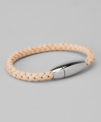 Silver & Beige Braided Leather Bracelet