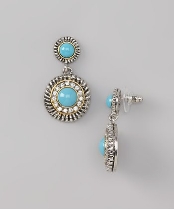 Turquoise & Silver Sparkle Drop Earrings