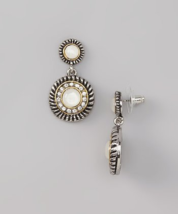 White Shell & Silver Sparkle Drop Earrings