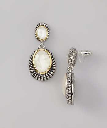 White Shell & Silver Drop Earrings