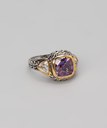 Gold & Purple Cushion Ring