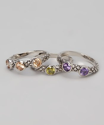 Purple & Silver Textured Ring Set
