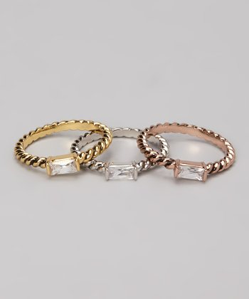 Tricolor Rectangle Ring Set