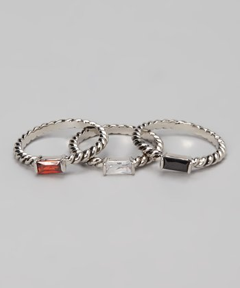Black & Silver Rectangle Ring Set