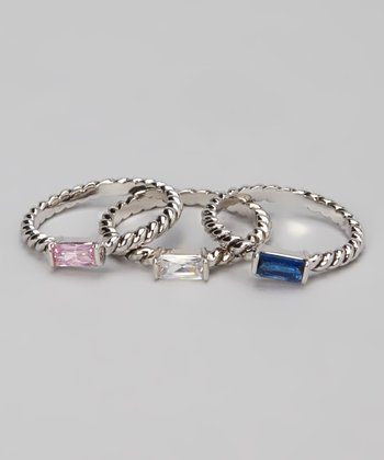 Blue & Silver Rectangle Ring Set