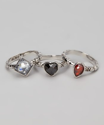 Black & Silver Shape Ring Set