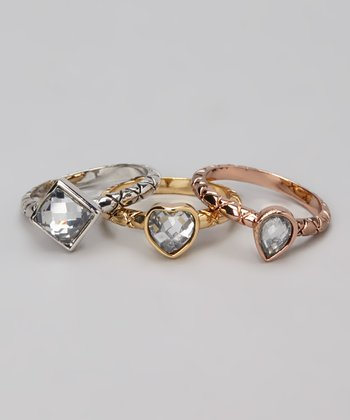Tricolor Shape Ring Set