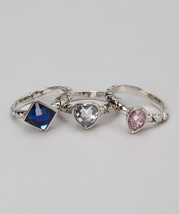Blue & Silver Shape Ring Set