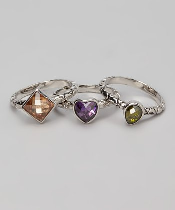 Purple & Silver Shape Ring Set