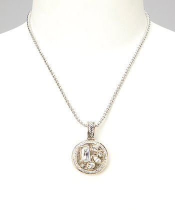 Silver & Gold Sparkle Disc Pendant Necklace
