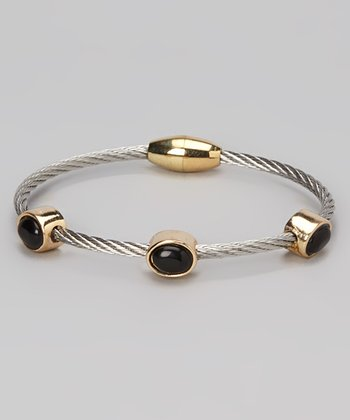 Black Onyx & Gold Station Bangle