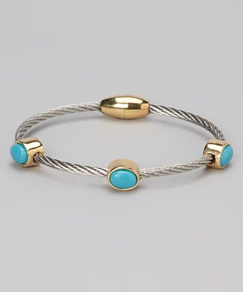 Turquoise & Gold Station Bangle