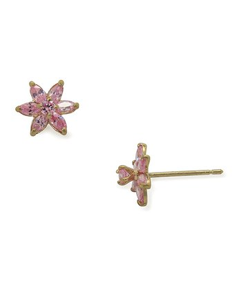 Gold & Pink Crystal Flower Stud Earrings