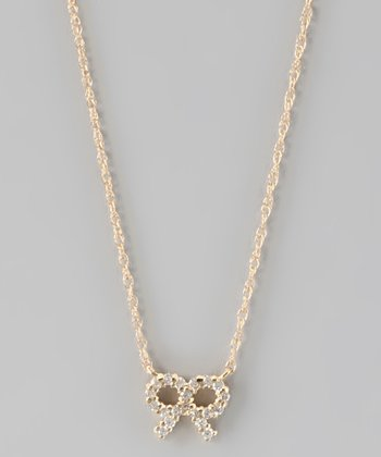 Crystal & Gold Bow Tie Necklace