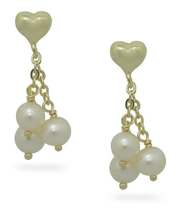 Gold Triple Pearl Dangle Earrings