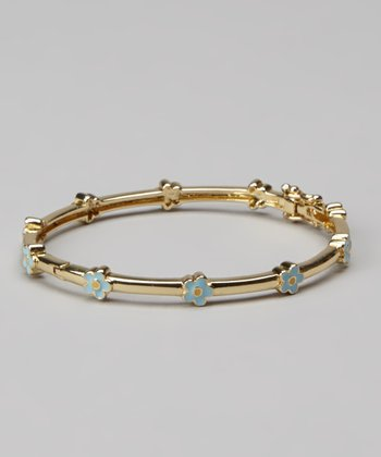 Gold & Blue Flower Bangle