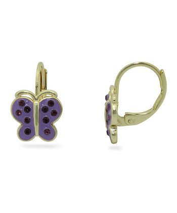 Gold & Purple Crystal Butterfly Leverback Earrings