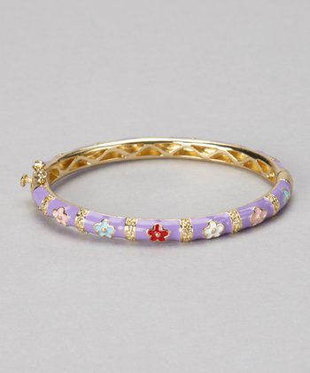 Purple & Gold Flower Bangle