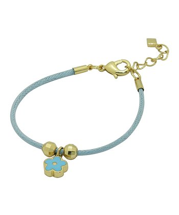Blue & Gold Flower Cord Bracelet