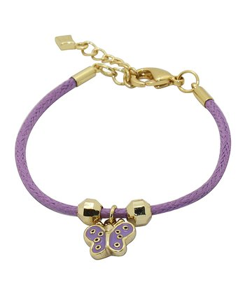 Gold & Purple Butterfly Cord Bracelet