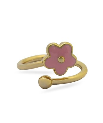 Gold & Pink Flower Ring