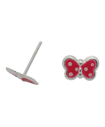 Pink & Silver Butterfly Stud Earrings