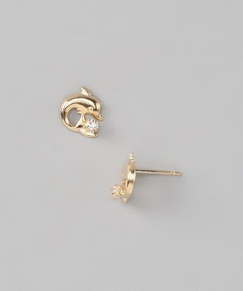 Crystal & Gold Dolphin Earrings