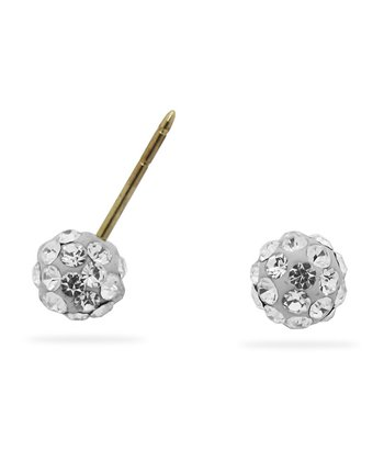 Crystal & Gold Ball Stud Earrings