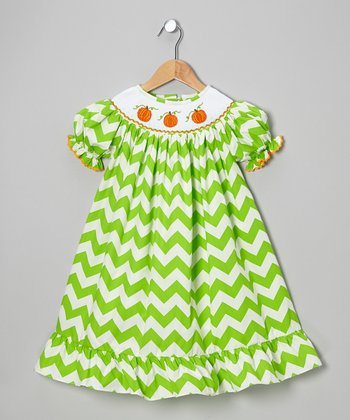 Green Zigzag Pumpkin Bishop Dress - Infant