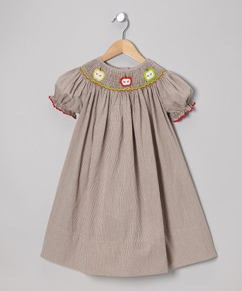Brown Gingham Apple Bishop Dress - Infant, Toddler & Girls