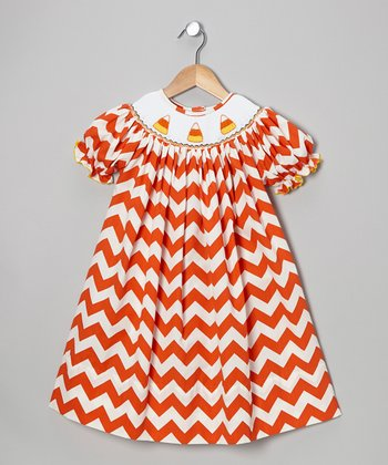 Orange Zigzag Candy Corn Bishop Dress - Infant, Toddler & Girls