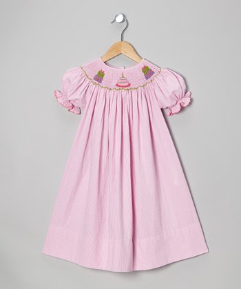 Pink Gingham Birthday Cake Bishop Dress - Toddler & Girls
