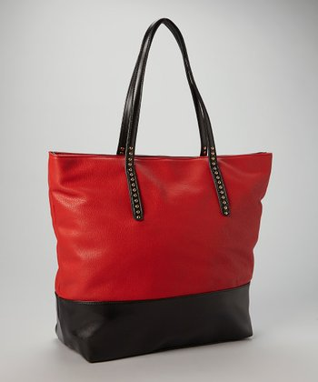 Red & Black Color Block Tote