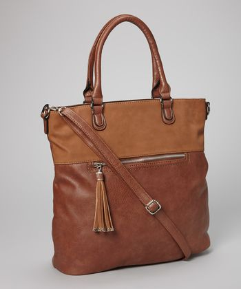 Brown Tassel North/South Tote