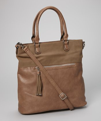 Dark Camel Tassel North/South Tote
