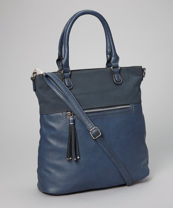 Blue Tassel North/South Tote
