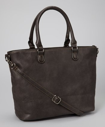 Dark Brown Studded Tassel Tote