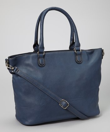 Dark Blue Studded Tassel Tote