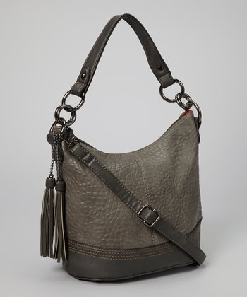 Dark Gray Pebbled Hobo