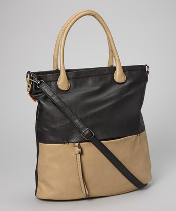 Black Color Block Tote