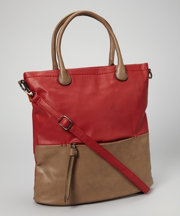 Red Color Block Tote